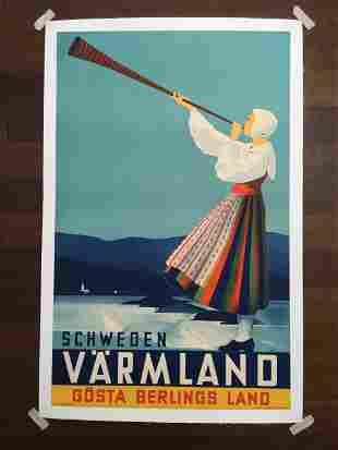 "Varmmland - Art by Anders Beckman (1930's) 24.5"" x"