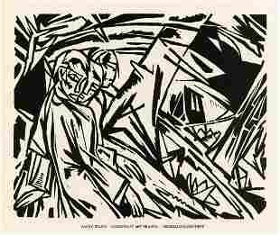 "Aloys Ludwig Wach original woodcut ""Landschaft mit"