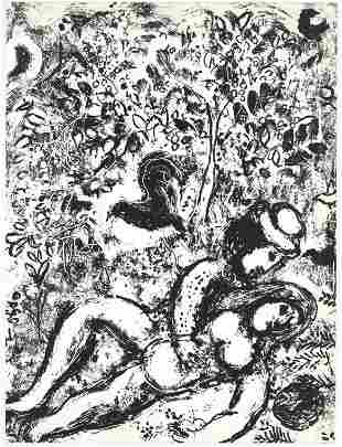 """Marc Chagall original lithograph """"The Pair in the Tree"""""""