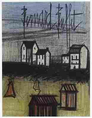 """Bernard Buffet original lithograph """"A Small Beach"""""""