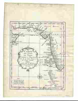 1750 Engraved Map Carte Perse Malabar