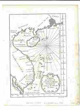 1750 Engraved Map of Vietnam
