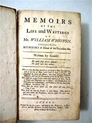 1749 Memoirs Life Writings William Whiston