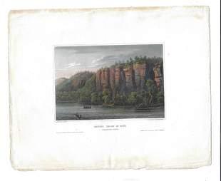 c1840 Colored Lithograph Bluffs Below St Paul