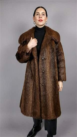 Brown Kara Nutria Fur Coat