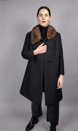 Black Cotton Mink Fur Collar Coat