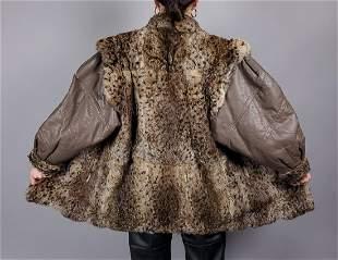 Vintage Brown Black Spotted Fur Coat