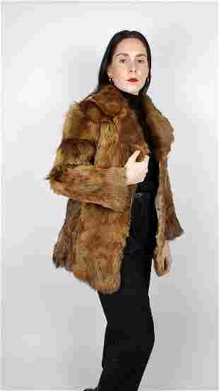 Red Brown Fox Fur Jacket