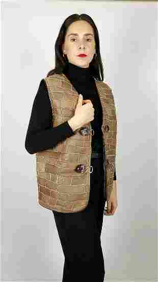 Brown Shearling Wool Fur Gilet