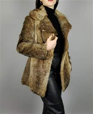 Brown Rabbit Fur Jacket