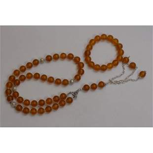 91g. Natural Baltic amber set necklace bracelet vintage