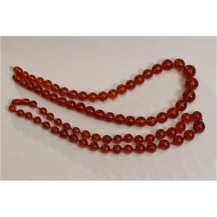 Natural Baltic amber, set vintage necklaces cognac