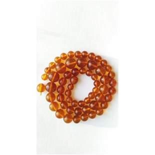 54g. Vintage 100% natural Baltic amber necklace cognac