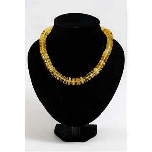 100% Natural Baltic amber vintage necklace transparent