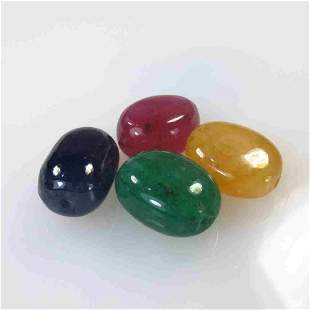 31.02 Ct Natural 4 Emerald, Ruby, Sapphire Beads