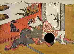 Isoda KORYUSAI: Couple by the verandah - Shunga