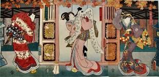 Kunisada: Genji-related Triptych