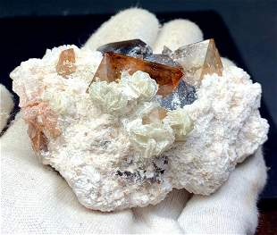Natural Topaz Crystals with Albite Mineral Specimen