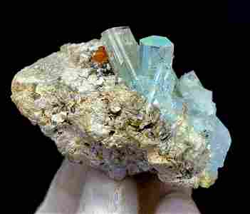 Natural Aquamarine Crystals Cluster on Matrix From
