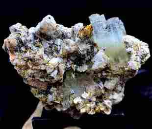 Natural Aquamarine Specimen With Black Tourmaline