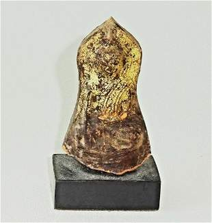 Burmese Shan Gilt Pottery Buddha in Earth Touch Pose