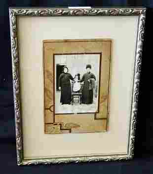 1900 Chinese Framed B&W Photo Family in Winter Clothing
