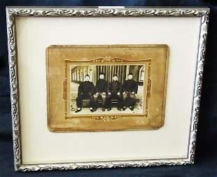 1900 Chinese Framed B&W Photo Four Seated Young Men