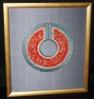 19C Chinese Framed Silk Brocade Embroidered Colar