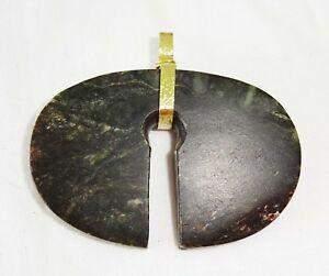1000BC SE Asia Jade Split Ring Pendant Modern Gold Bail