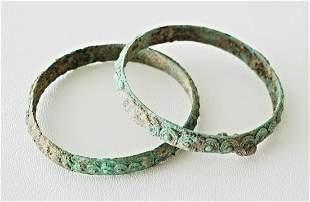 Pair Prehist. BC Thai Ban Chiang Swirl Bronze Bracelets
