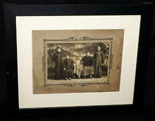 """1900 Chinese Framed B&W Photo """"Parents & Sons"""""""