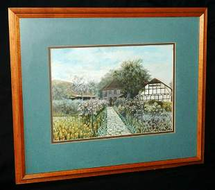 German Koa Framed WC Painting Farm Flower Lined Path