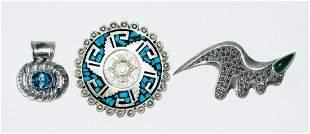 Modern Mexican Silver Pin Pendants Topaz Chrysoprase