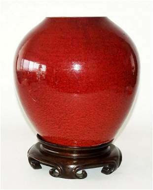 19C Chinese Guangdong Oxblood Glaze Ginger Jar on Stand