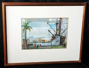 1949 HI California Painting Boats & Harbor J Halley Cox