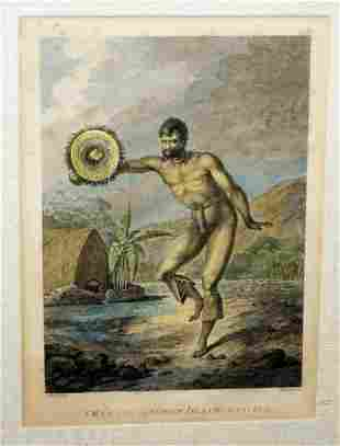 18C French Koa Frame Print Man Sandwich Islands Dancing