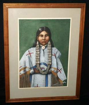 US Painting Sioux Lakota Woman Walther von Krenner