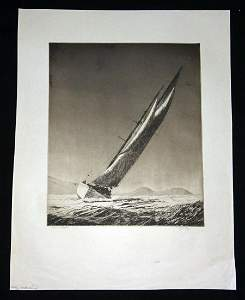 Hawaii Aquatint Print Manuiwa Yacht John Melville Kelly