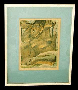 1933 Mexico Print Seated Female Figure by Jean Charlot
