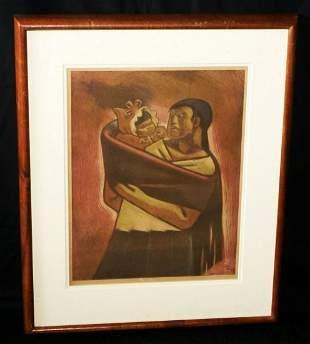 1948 Mexico Koa Print Mother Carrying Baby Jean Charlot
