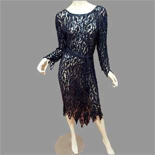 Vtg Silk Layering All Sequins Flapper dress Asymmetric
