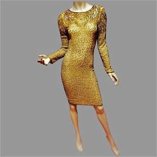 Vtg Layering Golden Embellished bugle gold beaded &