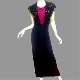 Antique 1920's Black & Red Maxi Bias dress Silk Crepe