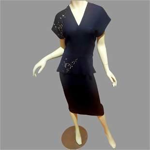 Vtg 1940's Black Peplum midi dress silver scrolling