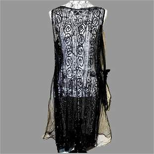 French Antique 1920 Flapper Tabard dress Lace Sequins