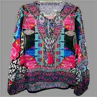 Sheer Vtg kaftan Embellished short Tunic Vibrant Colors