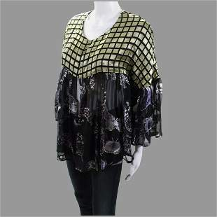 Rare different Boho Chic Top mixed Fabric