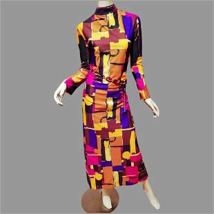 Vtg Abstract 1970's Maxi dress High Neck bold color