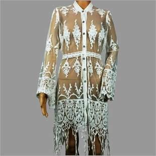 Vtg Lace Crochet Embroidered Kimono Duster Crochet