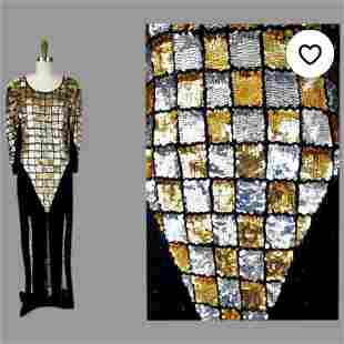 Vtg Sequins beaded Car wash maxi dress checkers gold